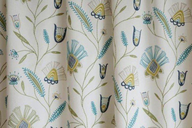 5167 virág mintás hímzett dekor-52 Türkiz-oldalsál