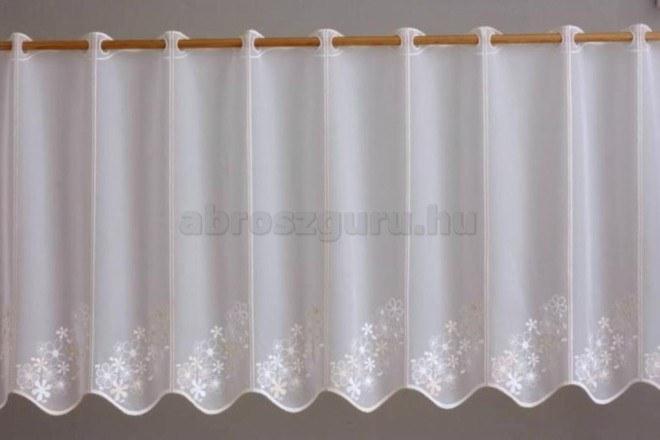 Bézs virág mintás hímzett vitrázs függöny-2604 01-45 cm