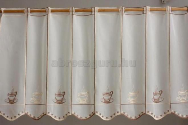Coffee hímzett vitrázs függöny-2689-45 cm