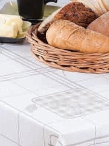 Fehér kockás viaszos vászon terítő