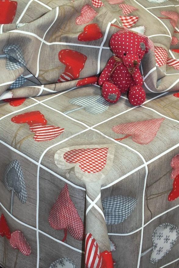 Heart karácsonyi festett pamutvászon abrosz