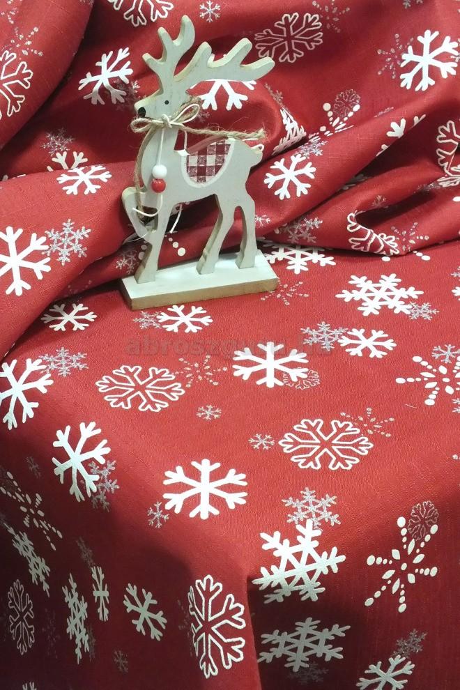 Hulló hópihe teflonos abrosz-piros alapon