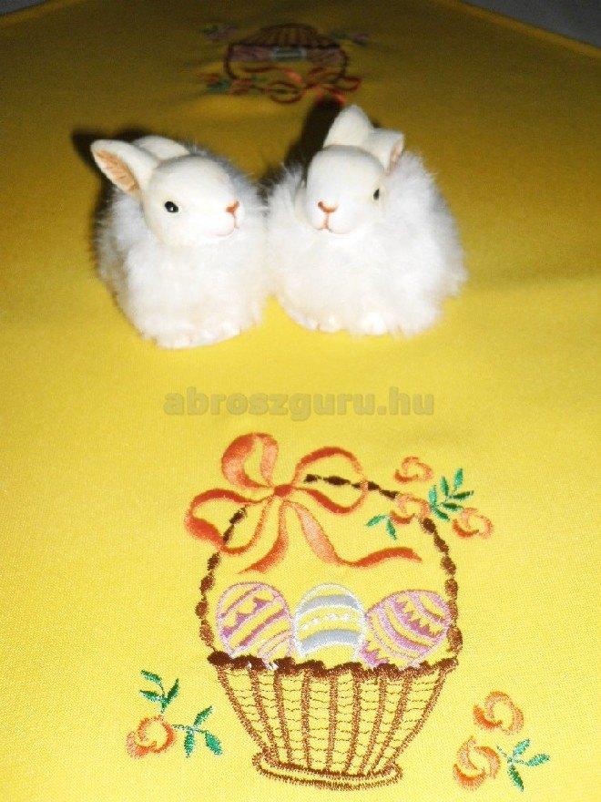 Húsvéti abrosz sárga színben hímzett mintával - Gabi