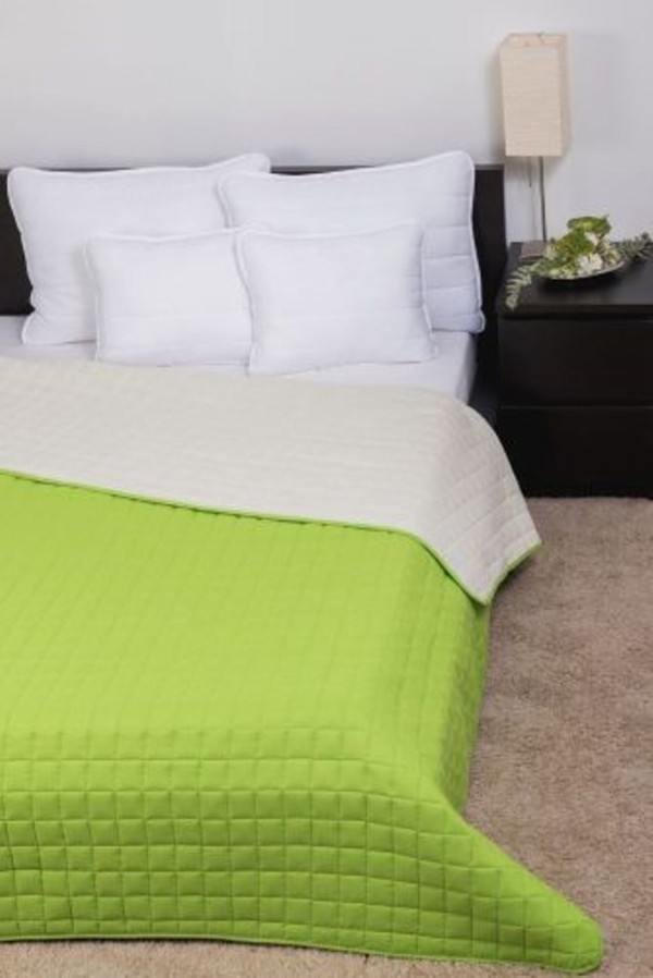 LAURA microfiber ágytakaró - Zöld-Törtfehér - 235x250 cm