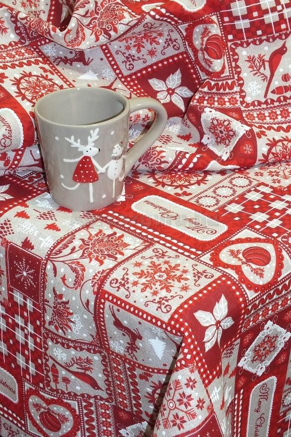 Patchwork karácsonyi festett pamutvászon terítő piros alapon